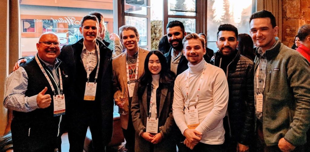Michael Kehoe (right) with the eight University of Alberta School of Real Estate Students Fairfield facilitated the attendance of at the International Council of Shopping Centres Conference in Whistler in February of 2019